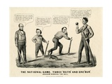 The National Game: Three Outs and One Run, Abraham Winning the Ball, 1860 Impressão giclée por  Currier & Ives