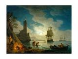 A Harbor in Moonlight, 1787 Giclée-Druck von Claude Joseph Vernet