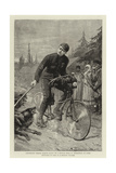 Lieutenant George Martos Riding on a Bicycle from St Petersburg to Paris Attacked by Dogs in a Russ Giclee Print by Charles Joseph Staniland