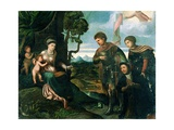 Madonna and Child with John the Baptist and Other Saints (Oil on Poplar Wood) Giclée-tryk af Dosso Dossi