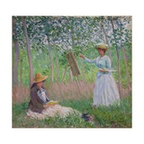 In the Woods at Giverny: Blanche Hoschede at Her Easel with Suzanne Hoschede Reading, 1887 Giclée-Druck von Claude Monet