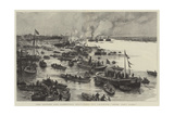 The Oxford and Cambridge Boat-Race, Off Chiswick, Here They Come! Giclee Print by Charles William Wyllie