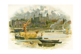 Tower of London in the 19th Century. also known as Her Majesty's Royal Palace and Fortress Giclee Print by Charles Wilkinson