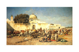 Market Scene at Mogador, 1881 Gicléedruk van Edwin Lord Weeks