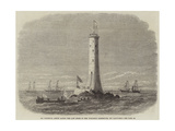 Sir Frederick Arrow Laying the Last Stone of the Wolf-Rock Lighthouse, Off Land'S-End Giclee Print by Edwin Weedon