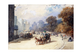 A Carriage at Hyde Park Corner, London, (Pencil, W/C, Bodycolour Heightened with White) Giclee Print by Eugene-Louis Lami