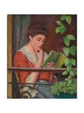 Reading Al Fresco - Woman on the Balcony; Lettura Al Fresco - Donna Al Balcone Reproduction procédé giclée par Federigo Zandomeneghi