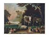 Peaceable Kingdom, Ca 1848 Giclée-tryk af Edward Hicks