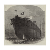 The New Iron-Clad Fleet, Launch of Her Majesty's Frigate Valiant, 34 Guns, at Millwall Giclee Print by Edwin Weedon