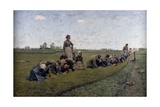 Women Cleaning Flax Plants, 1887 Giclee Print by Emile Claus