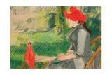 Reading in the Garden; or Woman in Red Hat, C. 1880-1882 (Pastel and Charcoal on Canvas) Giclee-trykk av Eva Gonzales