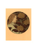 Roundel Portrait of a Girl, French, 1841 1917, Lithograph in Green, Black, and Gold Giclee Print by Eugene Grasset