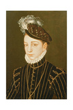 Portrait of Charles IX (Panel) (Related to Drawing in Hermitage, St. Petersburg) Giclée-tryk af Francois Clouet