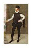 Full Length Portrait of a Gentleman in a Black Doublet Giclée-tryk af Francois Clouet