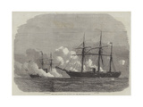 The Fight Between the Alabama and the Kearsarge Reproduction procédé giclée par Edwin Weedon