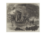 General Garibaldi Spearing Fish by Night Off Caprera Giclee Print by Frank Vizetelly