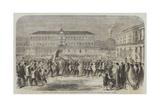 The British Brigade Marching into the Largo St Francesco Di Paola, Naples Giclée-Druck von Frank Vizetelly