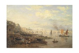 The Thames and Waterloo Bridge from Somerset House, C.1820-30 Giclee Print by Frederick Nash