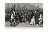 Alms for Poor Prisoners, Russian Students in the Streets of St Petersburg on their Way to Siberia Giclee Print by Frederic De Haenen