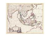 Map of India and the East Indies Reproduction procédé giclée par Frederick de Wit