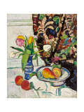 Still Life with Tulips and Fruit Giclee Print by George Leslie Hunter
