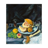 Still Life with Cut Melon, Glass and Fan, C. 1920 Giclee Print by George Leslie Hunter