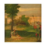 Idyll: Young Mother and Halberdier in a Wooded Landscape Giclee Print by Giorgio Giorgione