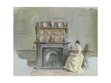 Lady Seated by Fireplace Giclee Print by George Goodwin Kilburne