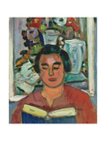 Painting and Book (Portrait of Miss Jean Mccaig) Giclee Print by George Leslie Hunter