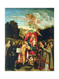 Madonna and Child with Ss. Domenic, Barbara, Catherine and Others Giclée-tryk af Giovanni de Busi Cariani