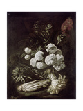 Still Life of Flowers and Vegetables, 17th Century Giclee Print by Giovanni-Battista Ruoppolo