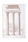 The Columns of the Temple of Castor and Pollux Giclée-tryk af Romano, Giulio