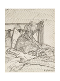 Portrait of the Artist's Mother Writing in Bed (Reed Pen and Grey Ink over Indications in Red Chalk Giclée-tryk af Harold Gilman