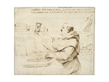 Caricature of Fra Bonaventura Bisi, 1655 - 1659 Lámina giclée por  Guercino