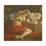 St. Jerome Sealing a Letter Lámina giclée por  Guercino