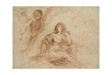 An Angel Appearing to Hagar and Ishmael, C.1653 Lámina giclée por  Guercino