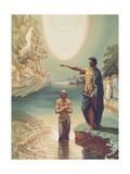 The Baptism of Christ, C.1860 Giclée-tryk af Grigori Grigorevich Gagarin