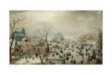Winter Landscape with Skaters. C.1608 Giclée-tryk af Hendrik Avercamp