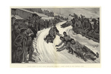 Winter Sports at Davos Platz, Bob-Sleighs Turning a Sharp Corner on the Toboggan Slide Giclee Print by Henri Lanos