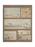 Six Views and Drawings of Lake Natron in Libya Giclee Print by Henri Joseph Redoute
