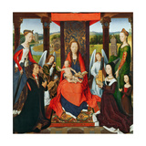 The Virgin and Child with Saints and Donors, a Panel from 'The Donne Triptych' C.1478 (Oil on Oak) Giclee Print by Hans Memling
