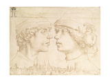 Portraits of Two Youths, a Dwarf and a Townscape, C.1514 Giclee Print by Hans Holbein the Younger