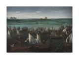 Battle Between Dutch and Spanish Ships on the Haarlemmermeer, C.1629 Giclée-Druck von Hendrick Cornelisz. Vroom