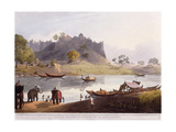 Ruins of the Port at Juanpore on the River Goomtee, 1824 (Colour Aquatint) Reproduction procédé giclée par Henry Salt