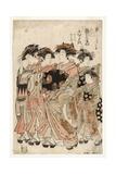 The Courtesan Komurasaki of the Kadotamaya Brothel with Her Attendants Namiji An, 1775-80 Giclee Print by Isoda Koryusai
