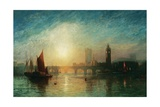 View of Westminster Bridge and the Houses of Parliament Giclée-tryk af James Francis Danby