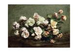 Vase of White Roses on a Table; Vase De Roses Blanches Et Roses Sur La Table Reproduction procédé giclée par Ignace Henri Jean Fantin-Latour