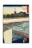 Returning Sails at Azuma Bridge, November 1861 Giclee Print by Hiroshige II