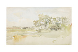 Landscape with Farm Buildings, C.1884 Giclée-tryk af James Abbott McNeill Whistler