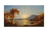 Sunset, Lake George, New York, 1867 Giclée-tryk af Jasper Francis Cropsey